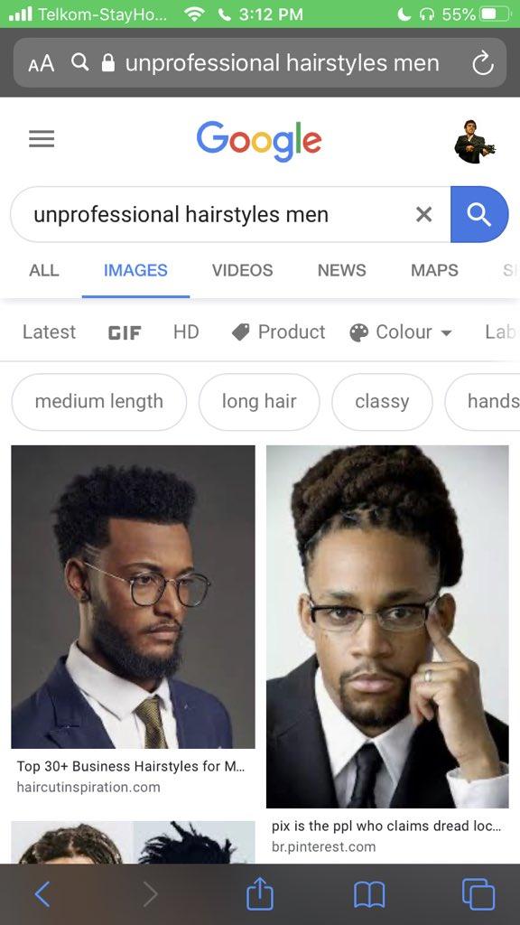 Unprofessional hairstyles men google results screen grab