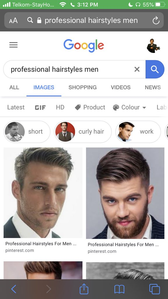 Professional hairstyles men google results screen grab