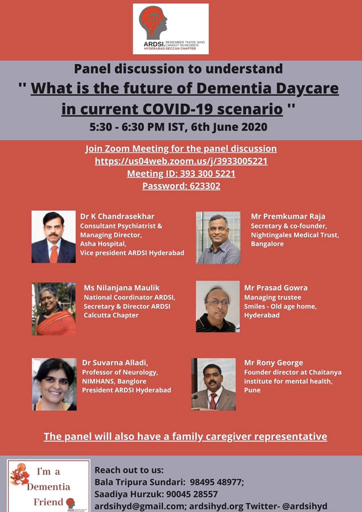 Envisaging future of dementia daycare #Covid_19. Bringing together the best dementia care providers and family carers. A stimulating, frank exchange of perspectives and ideas between care providers and families. @ardsihyd @PremkumarRaja14 @SaadiyaRiyaz @Nilanjana Maulik @ardsi https://t.co/BoGilelQrw