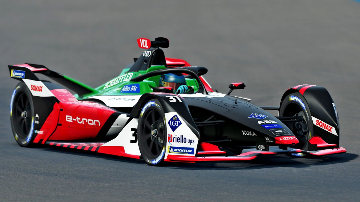 @KelvinvdLinde looks to lead the pack this weekend in the penultimate #raceathome competition races starting today, join our favorite @twitch streamer live by following the link: bit.ly/2UxifAb #FormulaE #etron #ProgressFeelsElectric #AudiTogether