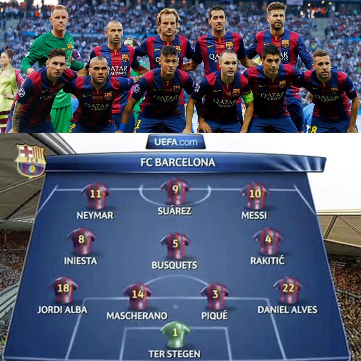 El XI del Barça en la final de la UEFA Champions League ante la Juventus. Hoy hace 5 años, con este equipo, el FC Barcelona se convertía en el primer club capaz de ganar DOS TRIPLETES en toda la historia del deporte. GLORIA ETERNA.