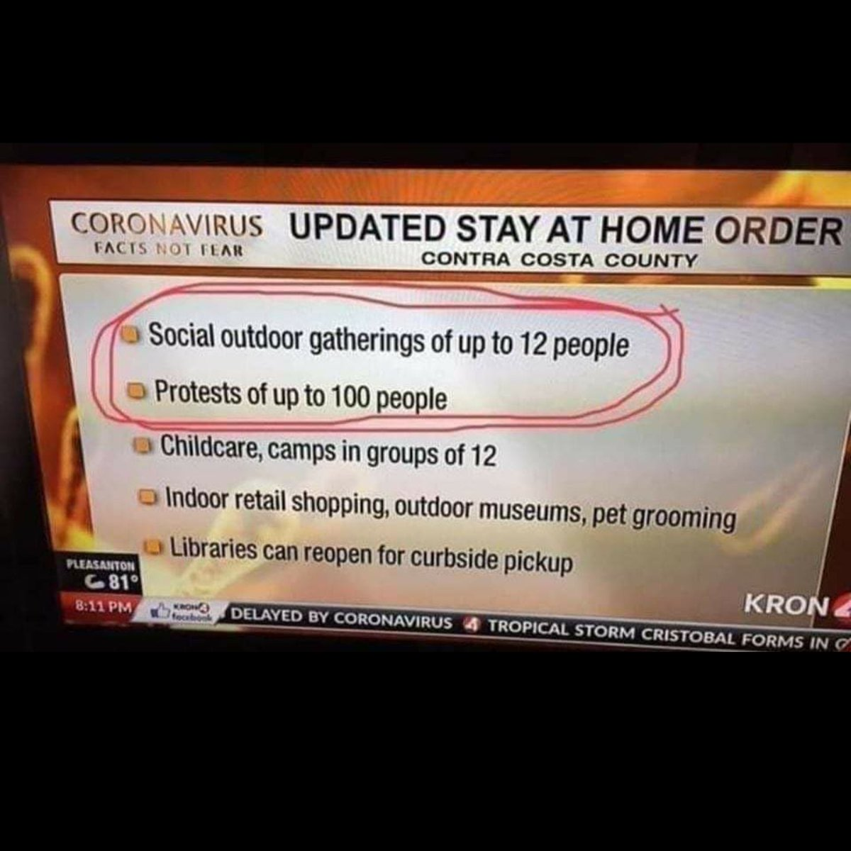 """Remember!  Your cancelled wedding or your amazing Virtual Funeral can now simply be called a """"Protest"""" and you're safe and good to go!  This one won't age well.  We see the evil, Run. pic.twitter.com/cligdGhA1g"""