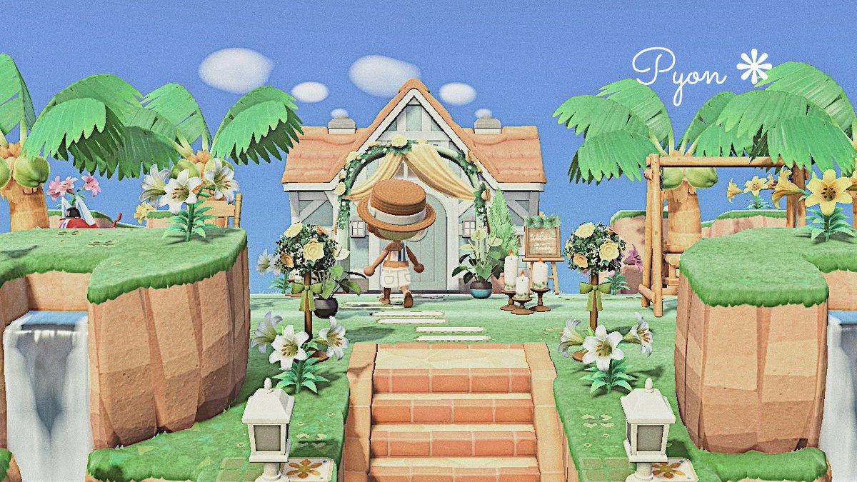 ponopono島のリゾートホテル準備中です🌴🧡オレンジのお花のマイデザにも挑戦して、ウェディング家具も取り入れてみました💐#あつ森 #どうぶつの森 #あつ森写真部 #マイデザ #マイデザイン #ACNH #ACNHDesigns #ACNHDesign #junebride