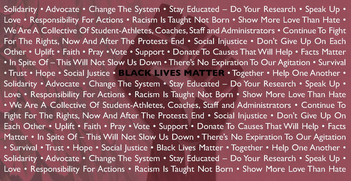 In collaboration with @femaleAD #BlackLivesMatter statement, #NCCU Athletics student-athletes (SAAC members), coaches & staff were asked to share their voice about the movement in a word or phrase. The result... https://t.co/Sr9hQQZKU1