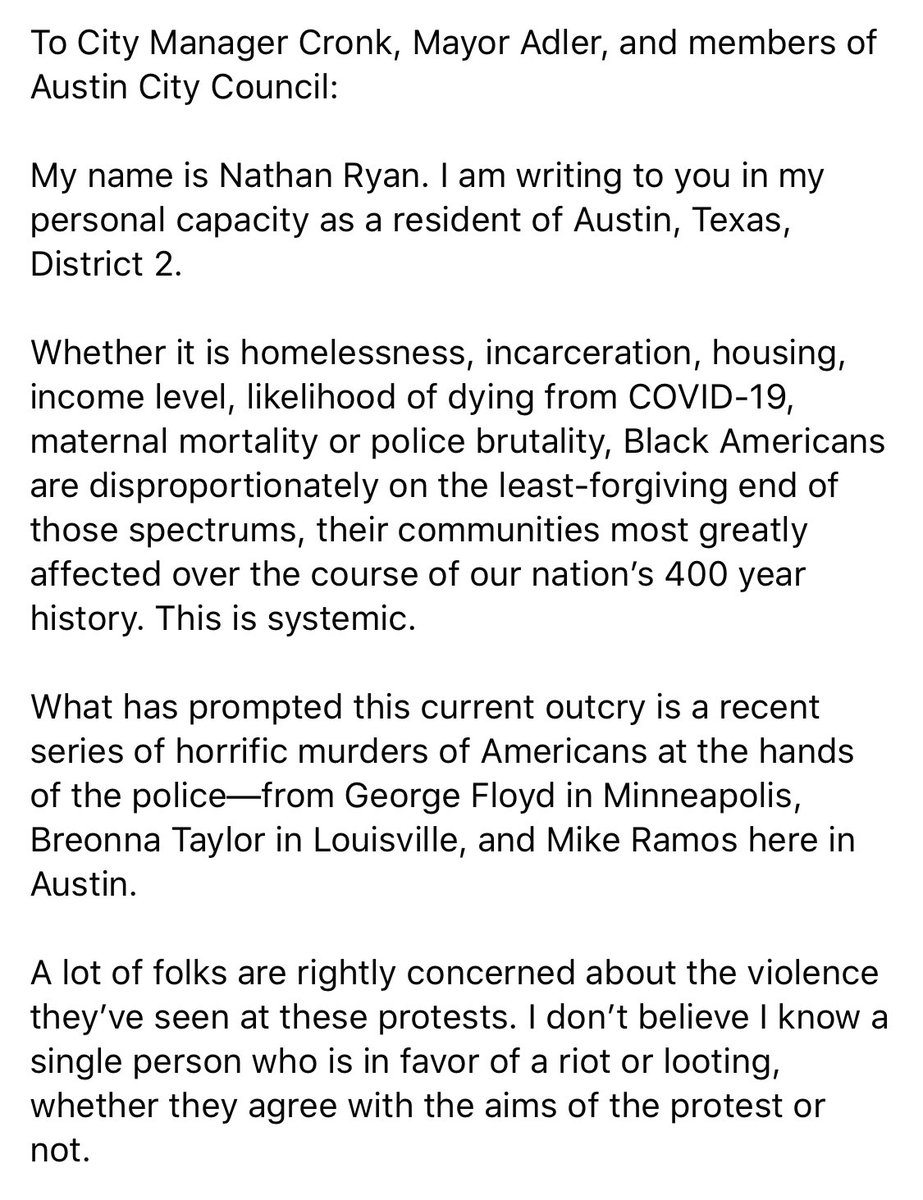 I will be sending this email to @MayorAdler, City Manager Cronk, and #ATXCouncil on Monday. The responsibility for modeling nonviolence rests on the state. It's time for a change. pic.twitter.com/bMRrfsK7ev