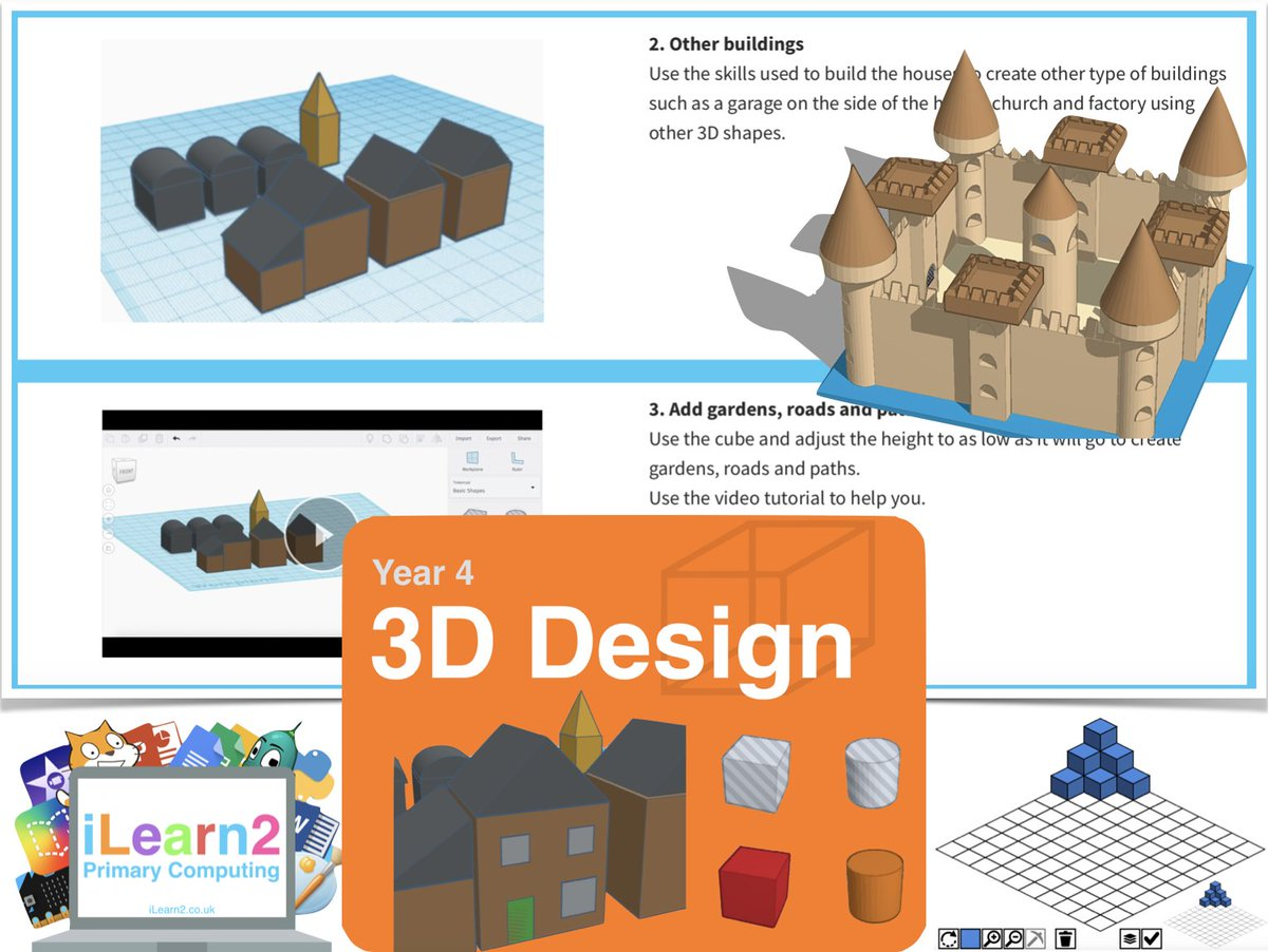 Year 4 3D Design Activity Pack: Pupils can learn to build a 3D town/village using free online tools & interactive activities with video tutorials, questions & challenges. A great way to link Computer Aided Design with 3D shapes in Numeracy. https://www.ilearn2.co.uk/preview3ddesign.html … #edtechpic.twitter.com/1XN1Uei8h1