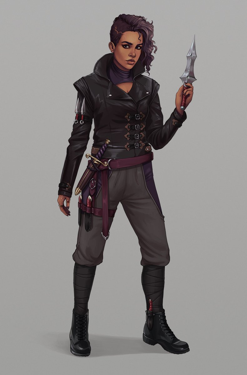 A rogue named Istar for a Patreon commissioner, as part of a larger set of characters. The jacket for this one was a lot of fun to paint! #dnd #dnd5e #ttrpg #art #dungeonsanddragonspic.twitter.com/8f9Gu5ajAD