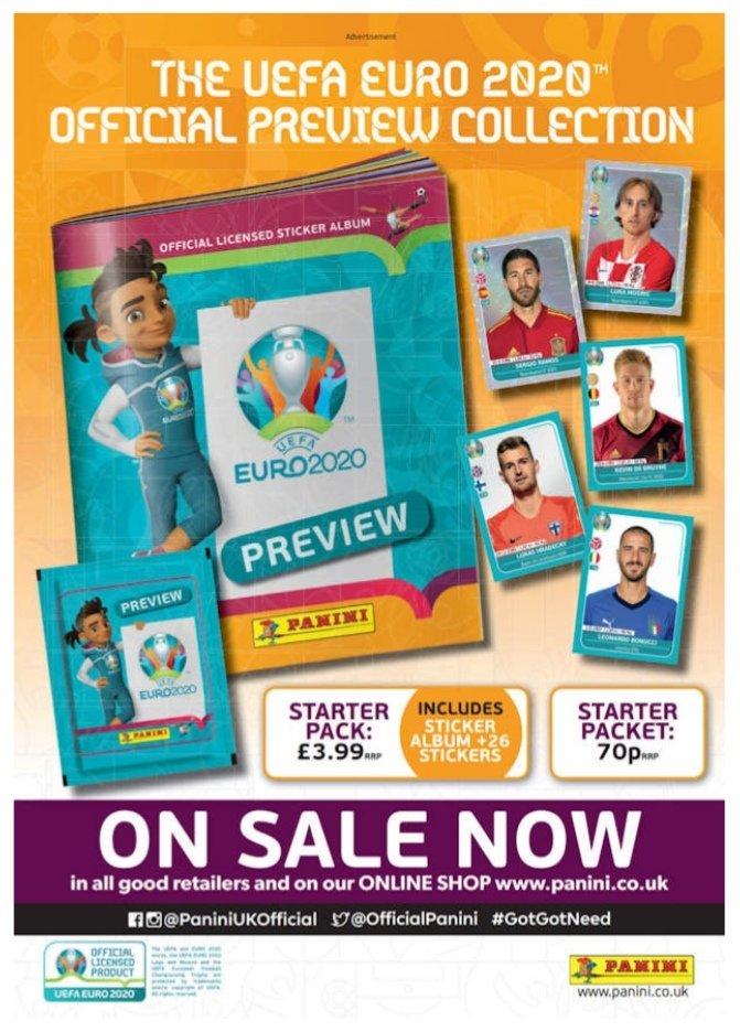 Poster da Coleção Panini UEFA EURO 2020 Preview.