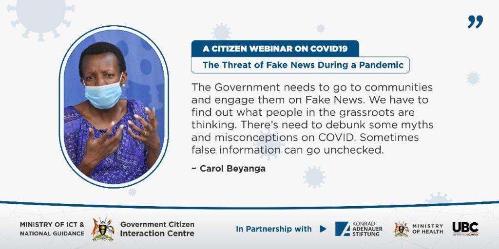 .@GovUganda needs to go to communities and engage them on Fake News. We have to find out what people in the grassroots are thinking. @Akeda3   #COVIDWebinarsUG #UBCNews #FightFakeNewspic.twitter.com/jGBzW4f1X2