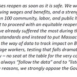 Image for the Tweet beginning: Our statement on @MassGovernor's annoucment