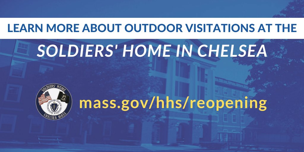 Special note to families:  Guidance for outdoor visitation at the Soldiers' Home in Chelsea has now been posted. Learn about how to schedule an outdoor visit with your loved one:  🔗https://t.co/pGXuaQUTdb  We look forward to welcoming you back soon! https://t.co/HPg9N5WmAc