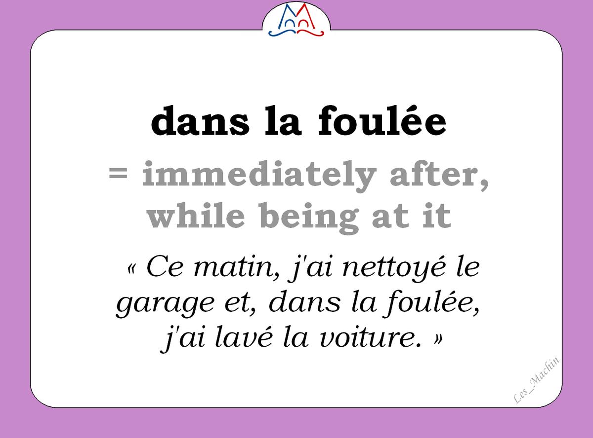 L'expression du jour : « dans la foulée » [dɑ̃ la fule] #learnfrench #french #ClasseFLE #locution