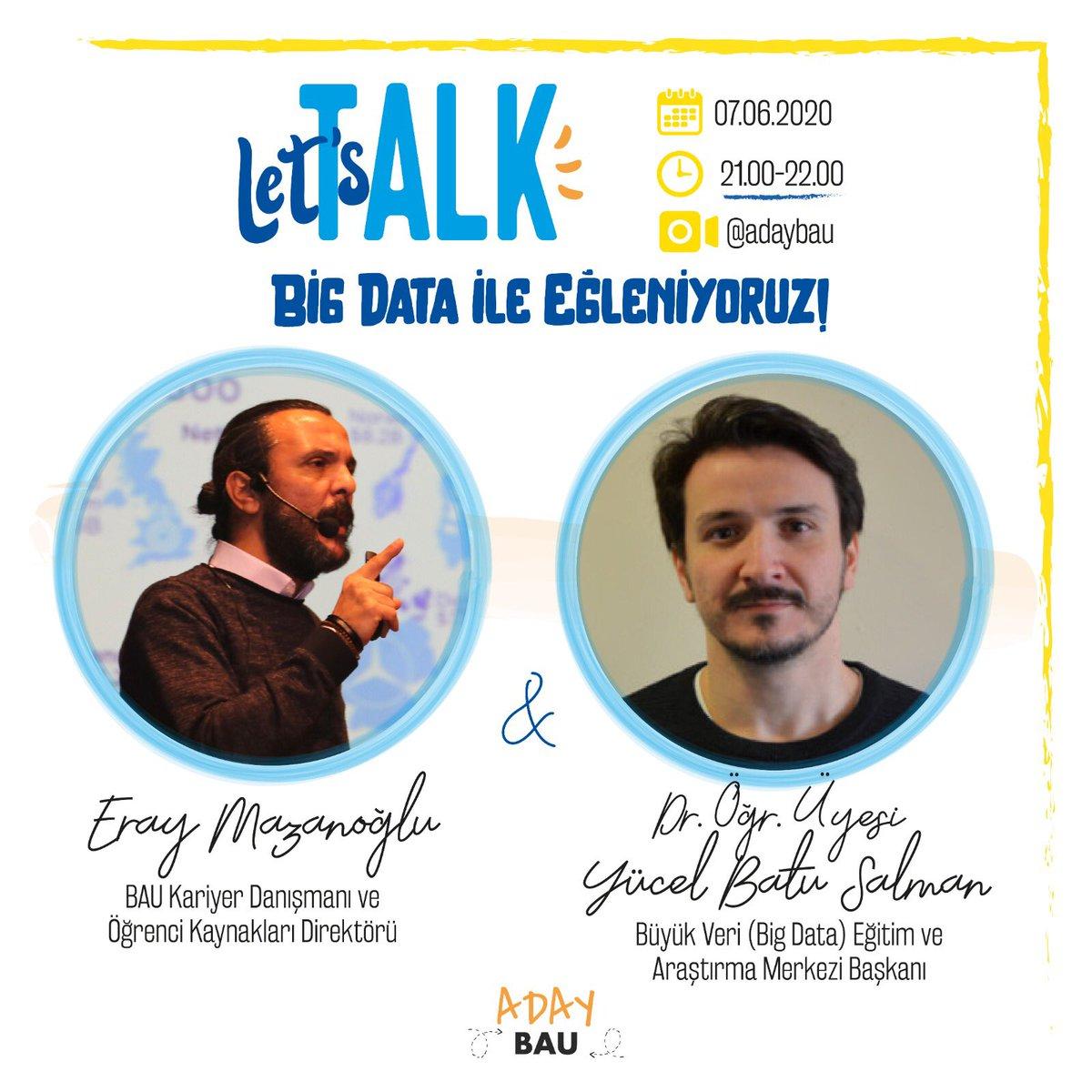 """AdayBAU'lu Let's Talk """"Big Data ile Eğleniyoruz"""" başlıklı instagram canlı yayın 7 Haziran (Yarın) 21.00'de devam ediyor! Yayın Linki: https://t.co/smfBctIPm3 https://t.co/kR5SE9rD89"""