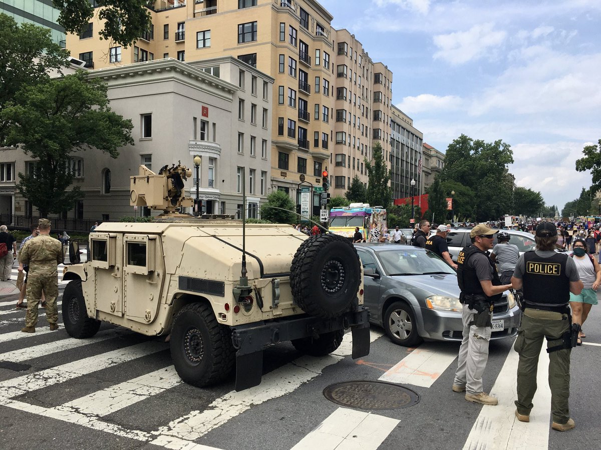 D.C. demonstrations: protesters, military & food trucks