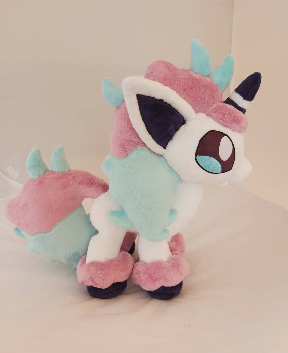 Ponita, 39cm/15inch (from Hoof to Horn). Ponita is full grown and is looking for a new Trainer.   If you are interested, just write me a privat Message. :)#handmade #plushcustom  #artist #sewing  #commisionsopen #pokemonplush #pokemon #ponita #Plush #plushie #plushielove #minkypic.twitter.com/o1k3e2S5gD