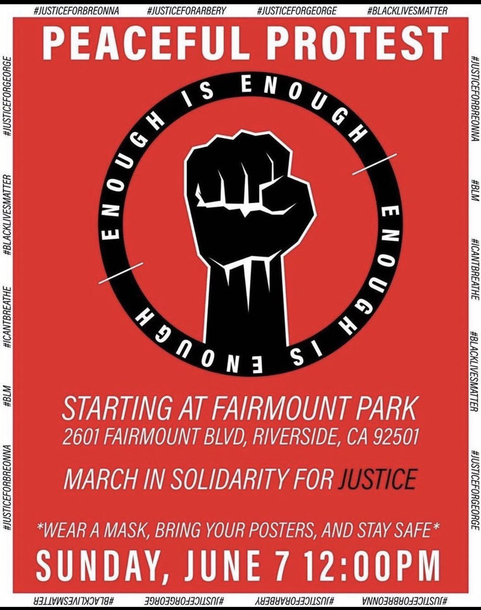 Hi guys! There will be another #BlackLivesMatter #protest at #Riverside tomorrow. I'm not sure if I'll be able to attend because finals is next week. But if anyone decides to go please be safe! #riversideprotest #fairmountpark #blm #BLM #InlandEmpire #BLMprotest #marchforchangepic.twitter.com/XX8SZEj54Z