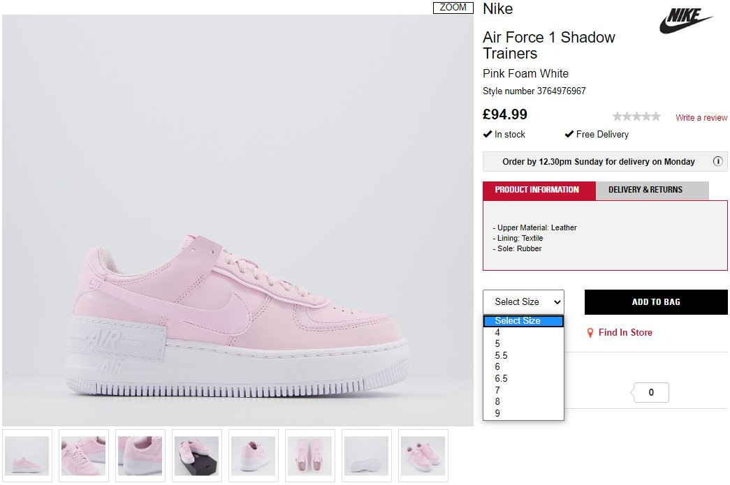 Sneaker Myth On Twitter Ad Nike Air Force 1 Shadow Wmns Pink Foam In Stock At Offspring Https T Co Utnvrafhug