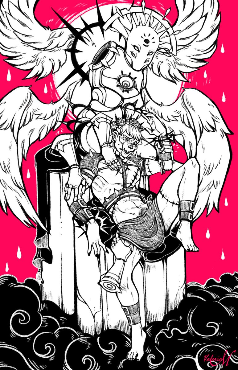 One of Eden's angels Death. For his odd appearance he was generally outcasted from the other angels and tends to be alone.  #digitalart #illustration #demons #death #drawing #oc #conceptart #inked #horrorpic.twitter.com/waaUK4hVrv