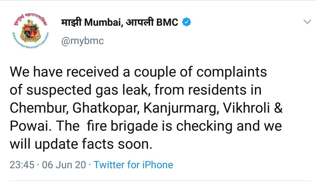 The update on #gasleakage at several locations like Chandivali , Chembur, Ghatkoper, Kanjurmarg, Vikroli & Powai. Hope everyone is safe out there.  ▪️BMC dispatches fire brigade ▪️People are urged not to panic ▪️Cover nose and mouth with wet towel. #gasleakage #GasLeakTragedy https://t.co/9KQD1pcJlD
