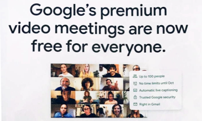"""The #coronavirus has allowed #Google to increase its  #surveillance. Latest move: Google #MEET is now """"free"""" (see ad below), which means all the data they collect from it are being used for #advertising & #manipulation purposes. Stick with #Skype or #Zoom for now. #BeAfraid https://t.co/spB1mV2Nxc"""