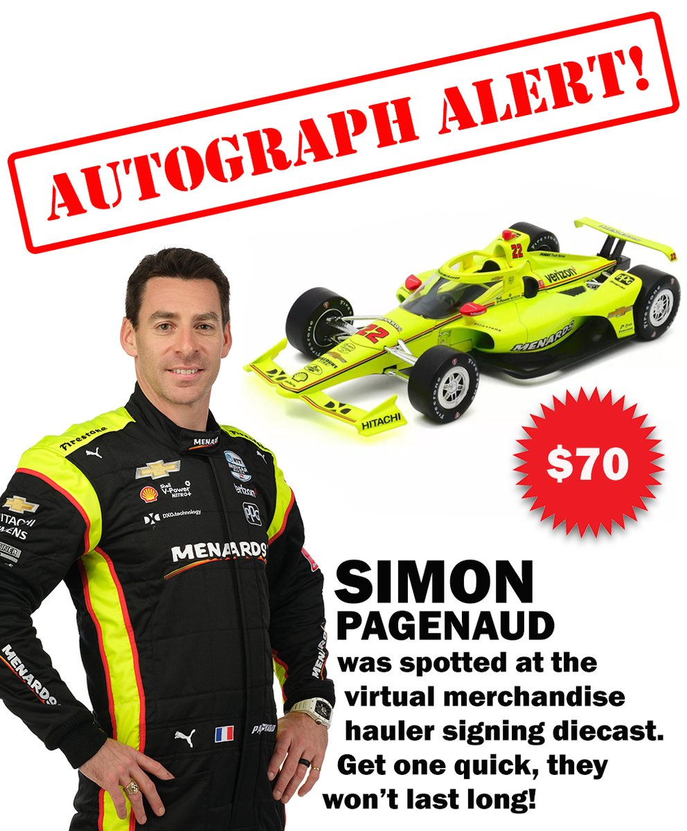 Have you gotten your signed @simonpagenaud diecast yet? Our virtual merch hauler will close 30 minutes after the race so get yours now! ✍: bit.ly/2MCngmw 🛍️: bit.ly/2lH40HN