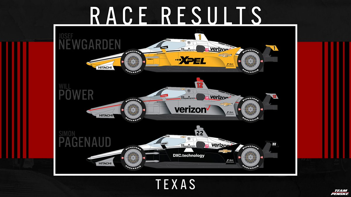 The first @IndyCar race of the season is in the 📚! 2nd - @simonpagenaud / @DXCTechnology 3rd - @josefnewgarden / @XPEL 13th - @12WillPower / @Verizon #INDYCAR | @TXMotorSpeedway | @TeamChevy