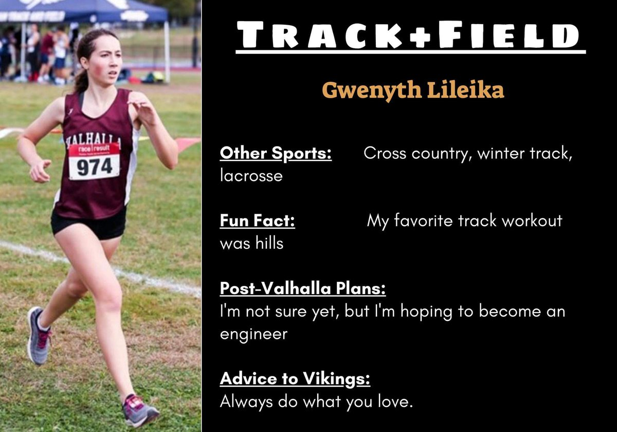 SPRING SPORT SENIORS at 6: Shout loudly and applaud a member of our varsity girls track and field team: GWENYTH LILEIKA! This marks the end of our 6 p.m. celebration of senior-athletes from the Spring 2020 season. https://t.co/3TEaSNYLuX