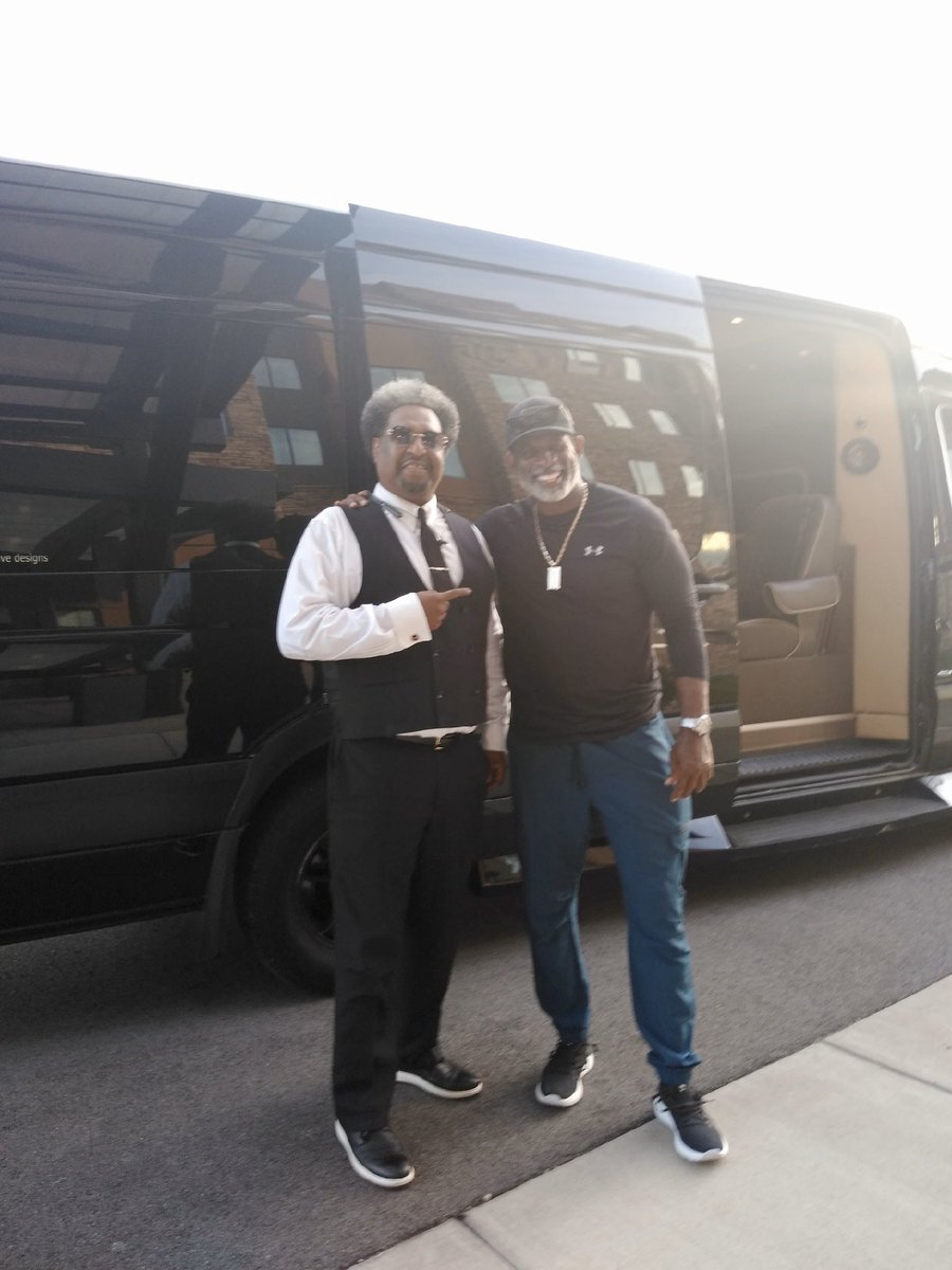 """Pride Transportation was HONORED to transport the legend Deion """"PRIMETIME"""" Sanders and his son Shedeur Sanders around Cincinnati and Kentucky!! Thank you for enjoying the ride and letting US drive!!  #legend #blackcarservice #mercedessprinter #nflfootball #pridetransportationpic.twitter.com/mopQ9hjvPY"""