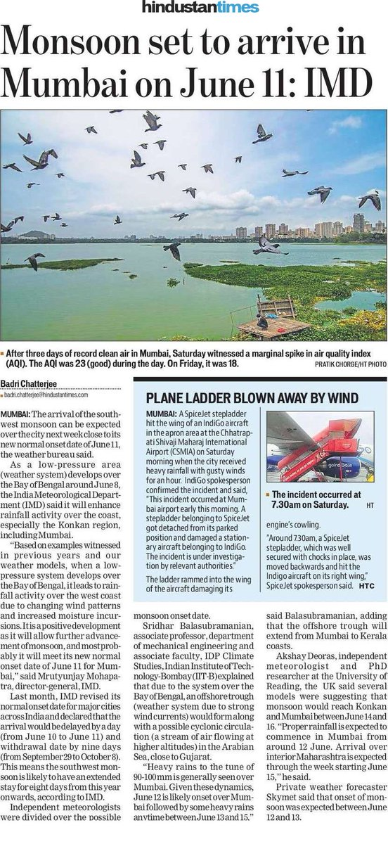 When will the #monsoon reach #Mumbai, #Konkan and other parts of #Maharashtra? Find out my latest forecast in today's @HTMumbai   #MumbaiRains  https://t.co/bgSYOri5Jh https://t.co/pTH3XKhZ13