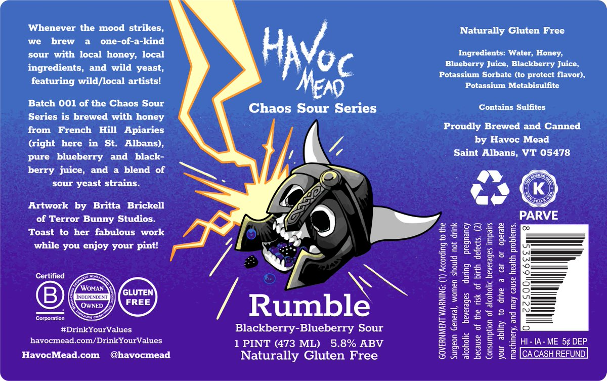 HUGE CONGRATS to the winning artist of our 1st Chaos Sour Series label design contest, Britta Brickell of Terror Bunny Studios!   You can see more of Britta's work here: https://soo.nr/7lkO  Release details for Rumble (blackberry-blueberry sour) are coming next week.pic.twitter.com/KG9vzpxv3z