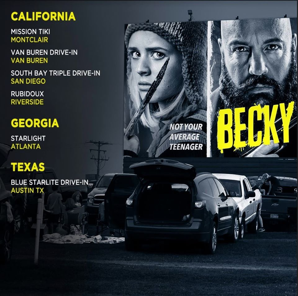 California Friends! BECKY is now playing at the Mission Tiki Drive-In in Montclair as well as in San Diego, Riverside and Van Buren. Mission Tikki is the very drive-in I grew up at. #kevinjames #luluwilson #joelmchale #driveinmovie #driveintheater #missiontikidriveinpic.twitter.com/rAw0BZ2J3H