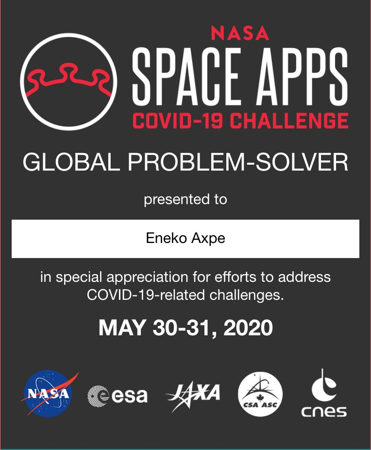Thank you so much for your recognition @NASA and  @SpaceApps! https://t.co/yHVLUGZ4RN