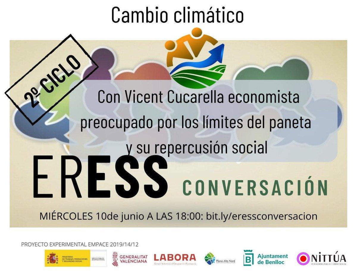 El próximo miércoles nos vemos en #ERESSCONVERSACION hablando de Cambio Climático con Vicent Cucarella, a las 18:00 en https://t.co/ckU3lLwOLe https://t.co/gxcekbit0d
