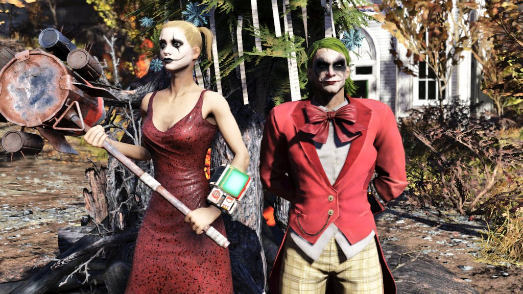 Joker and Harley doing the fasnacht parade. #Fallout76 #Fallout #Bethesda #Joker #HarleyQuinn #fasnachtpic.twitter.com/7XbV0g1ifM