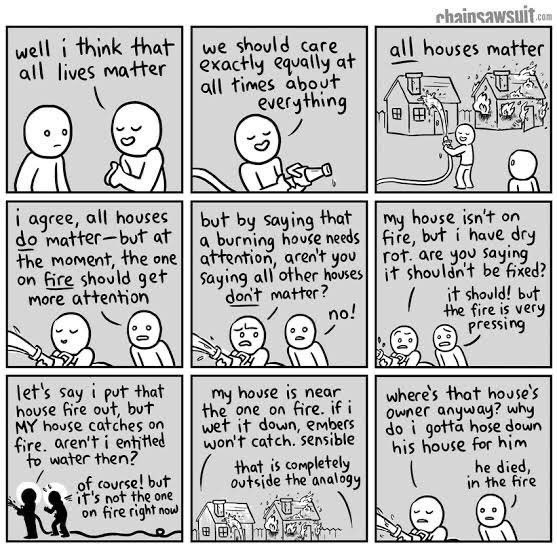 Well, I think all lives matter. We should care exactly equally at all times about everything. All houses matter. I agree, all houses do matter - but at the moment, the one on *fire* should get the attention. But by saying that a burning house needs... Cartoon by Kris Straub