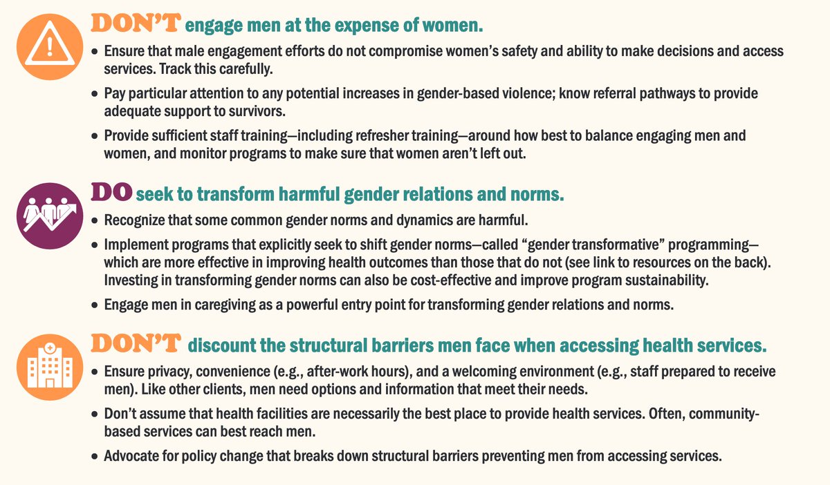 Do's and don'ts for engaging men & boys: Handy 2-pager on what you should do, and not do, when engaging men & boys in promoting health and gender equity. DO recognize and meet men's distinct needs. DON'T engage men at the expense of women. Etc. igwg.org/wp-content/upl…