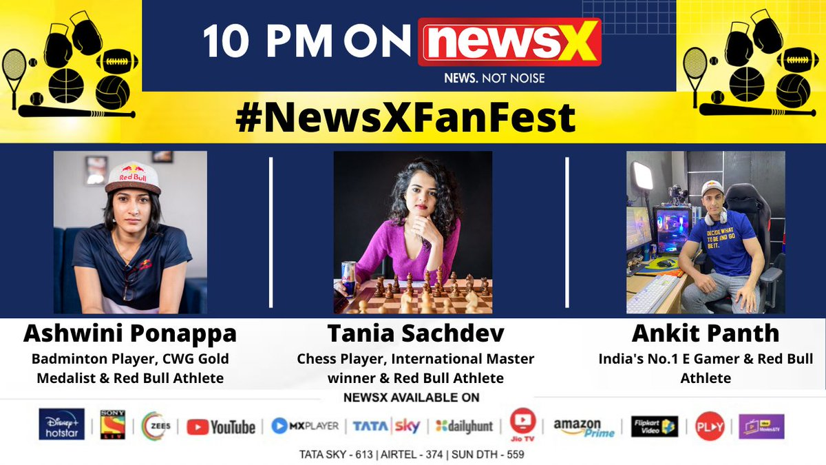 #NewsXFanFestSpecial | Watch a power packed panel from the Indian Sporting Fraternity join NewsX for a 'Fan Hangout' at 10 pm today and 4 pm tomorrow. . . . Don't forget to tune in! @UdayPratapSingh @aishvaryjain @P9Ashwini @TaniaSachdev @V3nombiceps @redbullindia https://t.co/pcsynWOOYv