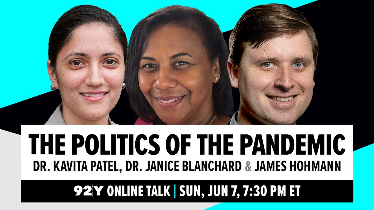 Learn more about the pandemic and the government response today at 7:30 pm in a FREE talk with top public health experts @kavitapmd @BrookingsFP and Dr. Janice Blanchard with moderator @washingtonpost @jameshohmann. Register here: bit.ly/3cvWy9I