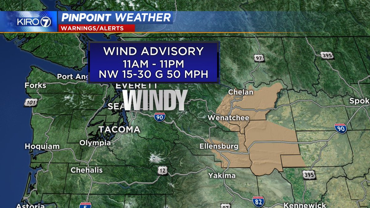 Heads up if you are heading east today! A Wind Advisory in effect for Ellensburg, Wenatchee & Chelan for wind gusts up to 50 mph through tonight. @kiro7seattle #kiro7seattle #wenatchee pic.twitter.com/hKzLHitGKm