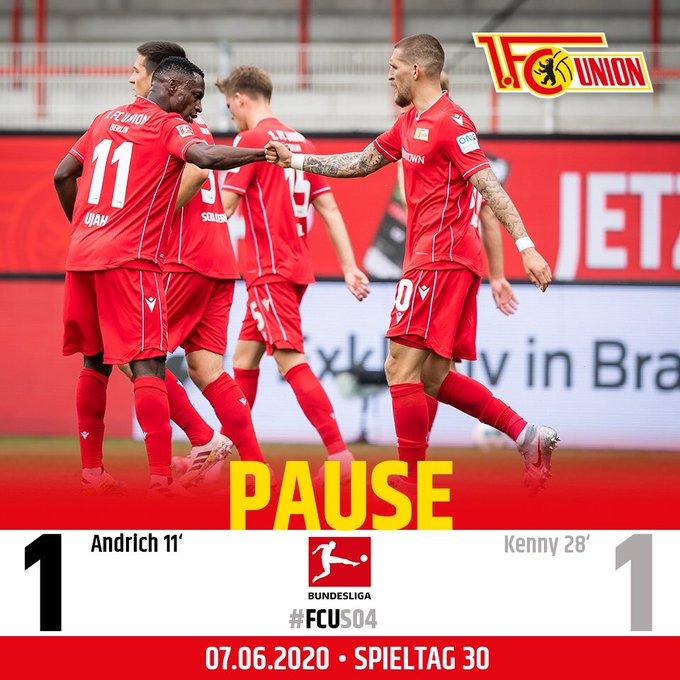 Al termine della prima frazione di gara il punteggio è Union Berlino-Schalke 1-1.
