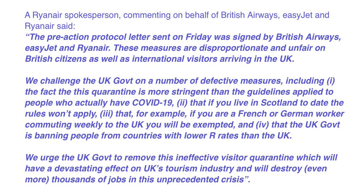 """..3 largest airlines in UK - EasyJet, Ryanair & British Airways, send joint pre-action protocol letter - challenging Government over """"a number of defective measures"""" in quarantine including it being """"more stringent than guidelines"""" for Covid+ people, initial step for court action"""