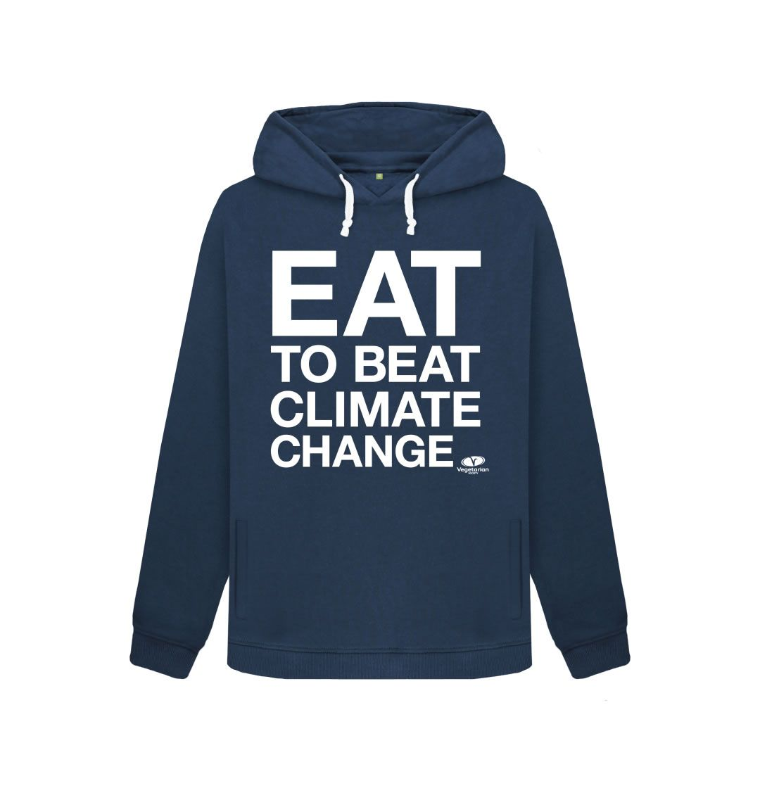 Make a statement by wearing an #EattoBeatClimateChange hoodie. You'll be sharing how eating veggie food is one of the best things we can all do for the planet. Printed on certified organic cotton in a renewable energy powered factory.