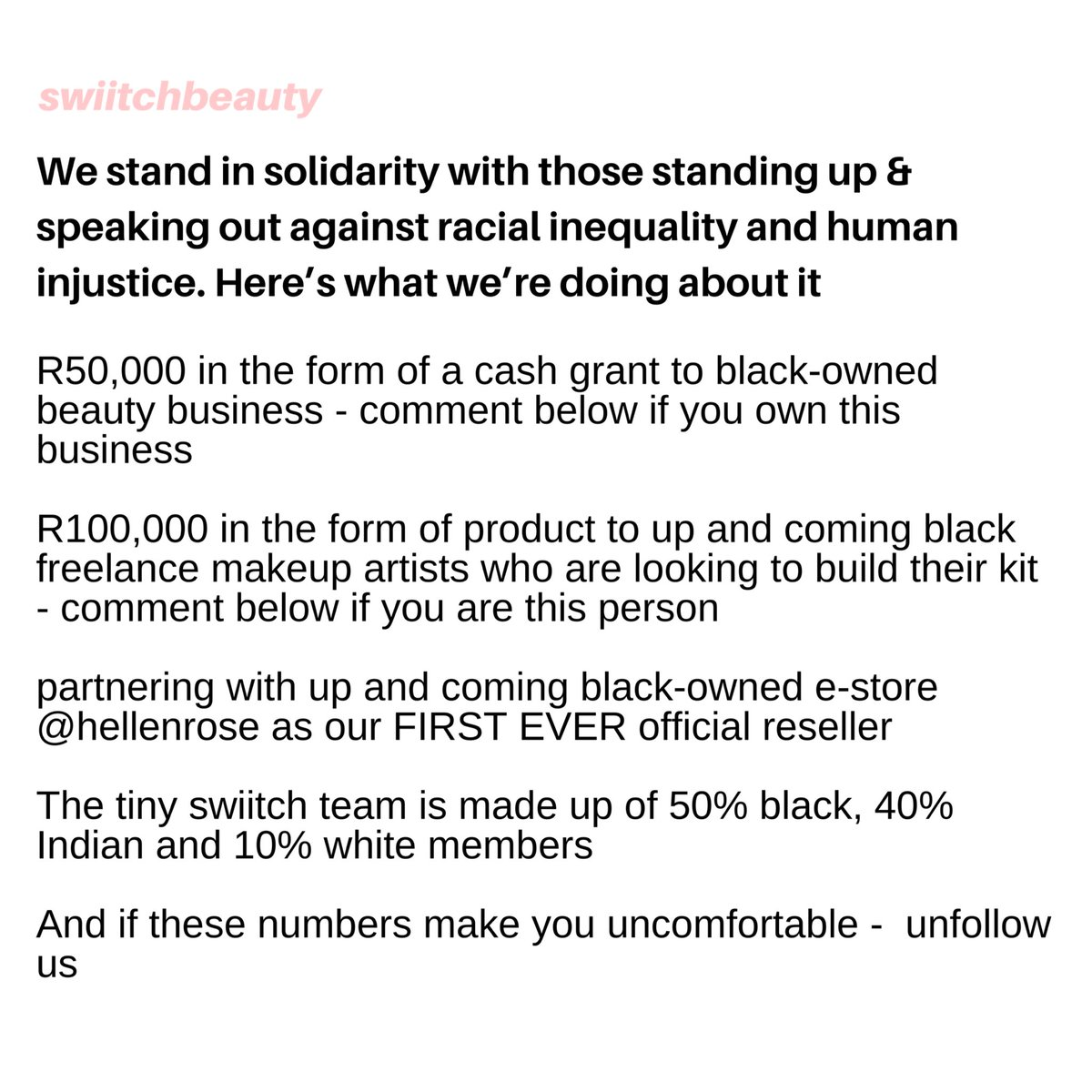 if you're a black owned beauty business / black freelance makeup artist - read this 👇🏽 cc @swiitchbeauty