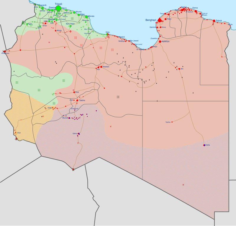 Контроль над территориями в Ливии на 7 июня