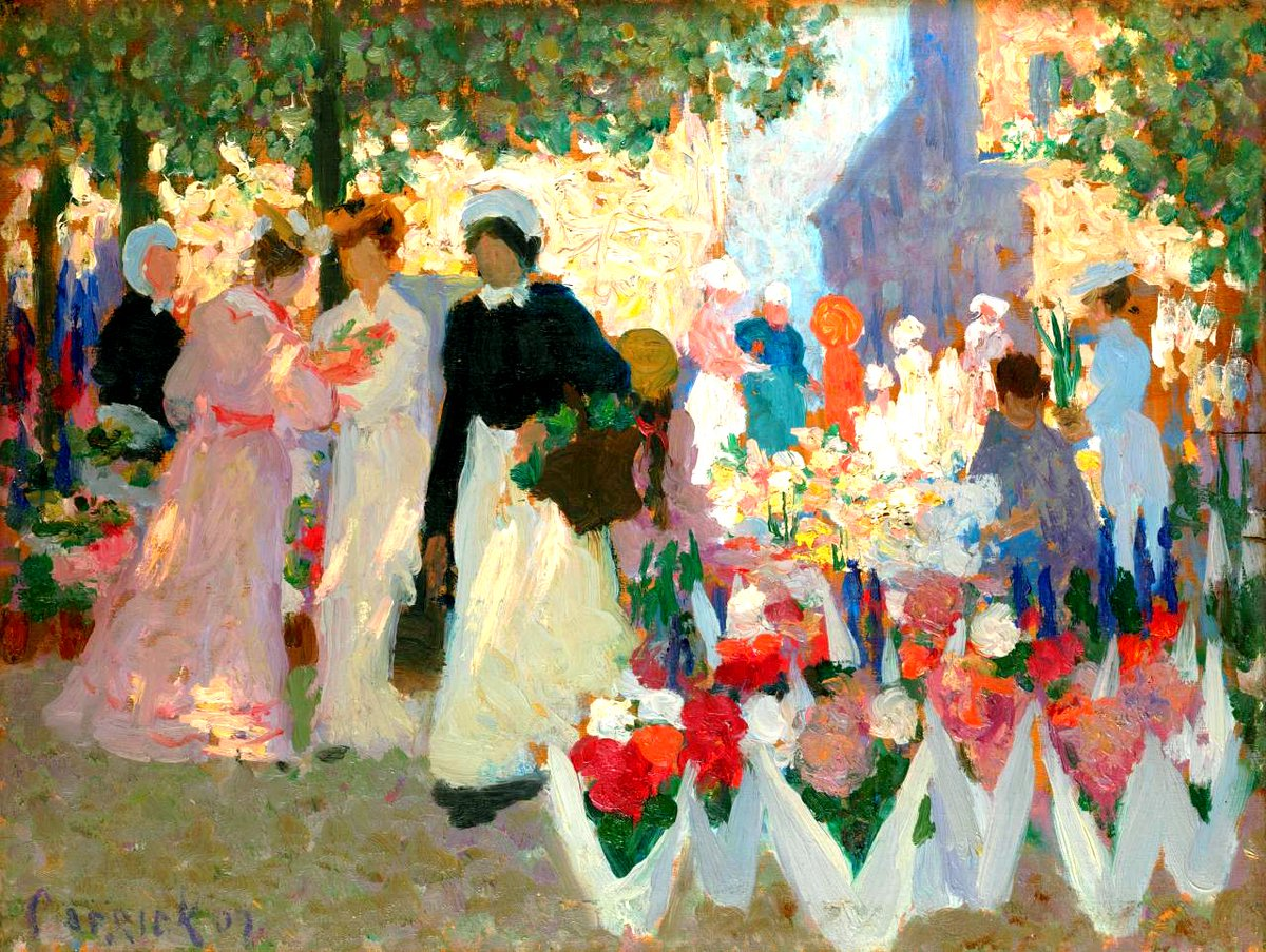 """Paris. Flower market. 1907. National Gallery of Victoria"" Ethel Carrick (February 7, 1872 – June 17, 1952), also known by her married name of Ethel Carrick Fox, was an English-born Impressionist and Post-Impressionist painter."