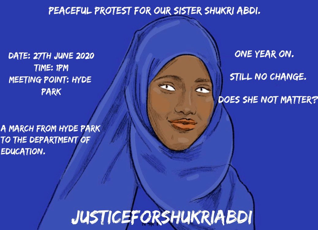 One year on. Still no change. Does she not matter? LONDON HYDE PARK #JusticeForShukriAbdi (we have permission from the family) https://t.co/GGPnznKKWQ
