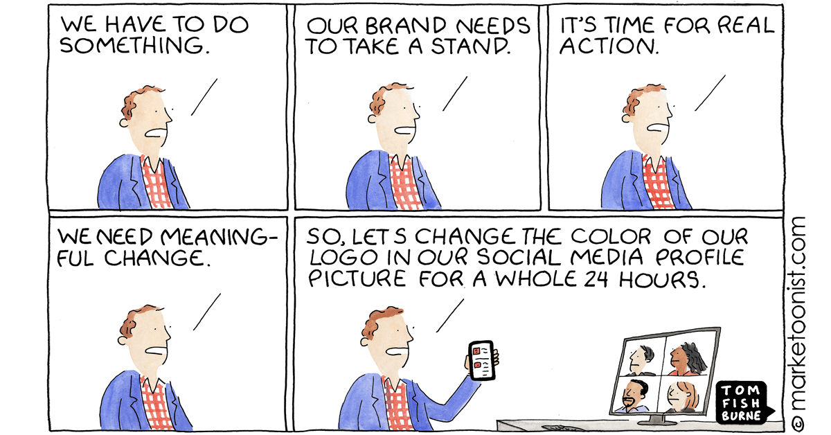 """""""Brands, Hashtag Activism, and a Time for Real Reflection"""" - new cartoon and post https://t.co/XfhreF63J3 https://t.co/v6wSU1iVuO"""