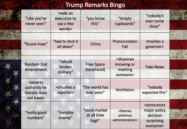 Ok...we have a new week starting.  So, I made a bingo card for all the upcoming Trump press conferences.  Enjoy!  (For a short game, I recommend @atrupar 's excellent summaries.) https://t.co/ivLDt6YESK