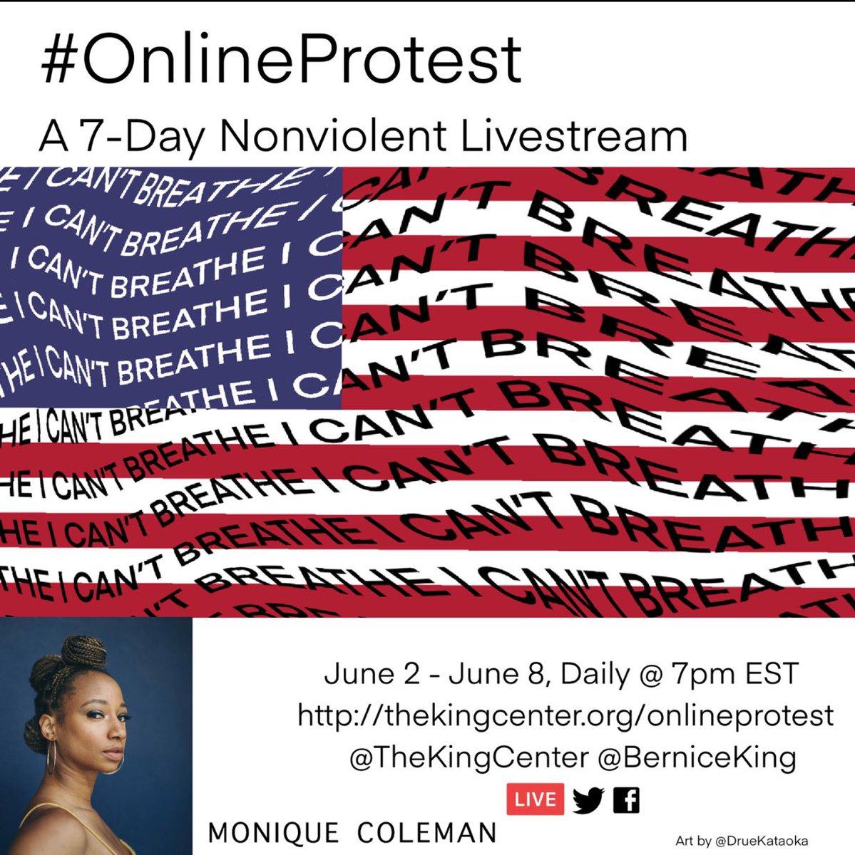 Join the #OnlineProtest TONIGHT at 7pm EST/ 4pm PST https://t.co/0kwGUgsR80 I'm so honored to lend my voice to this monumental event! @BerniceKing @TheKingCenter @DrueKataoka ✊🏾🙏🏾♥️ https://t.co/H6xlifuZ4F