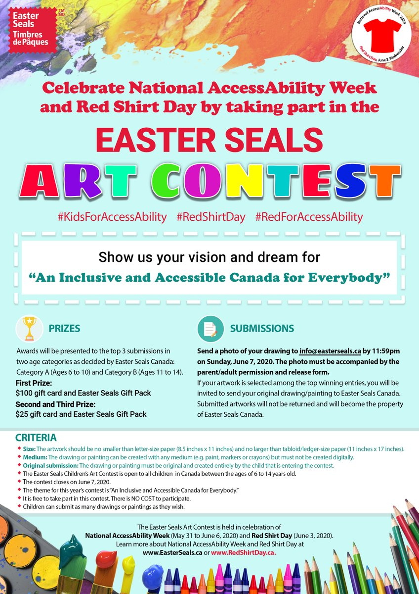 TONIGHT (June 7, 2020 at 11:59pm) is the final day enter the Easter Seals Children's Art Contest! 1st Prize includes a $100 Gift Card & an Easter Seals Gift Pack!  Learn more: https://t.co/ACbBPVzRqe  #RedShirtDay #RedForAccessAbility #KidsForAccessAbility https://t.co/U86IooyV3w